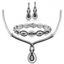 3/4 Ct Black & White Diamond Intertwining Infinity Necklace Bracelet Earrings Set - Alternative Measures