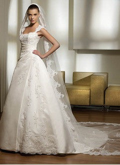 A-Line/Princess Chapel Train Satin Wedding Dress With Lace Beading - Alternative Measures