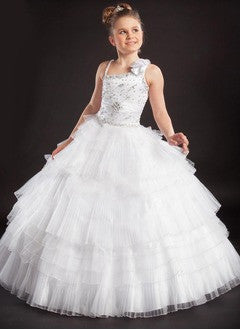 A-Line/Princess Floor-Length Tulle Flower Girl Dress With Ruffle Beading Crystal Brooch Flower(s) Pleated - Alternative Measures