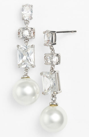 'Clove' Faux Pearl & Crystal Linear Drop Earrings - Alternative Measures