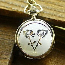 100pcs/lot Aliexpress Selling Fashion Watch Small White Steel Enamel Rose Pattern Unisex Quartz Antique Pocket Watches - Alternative Measures