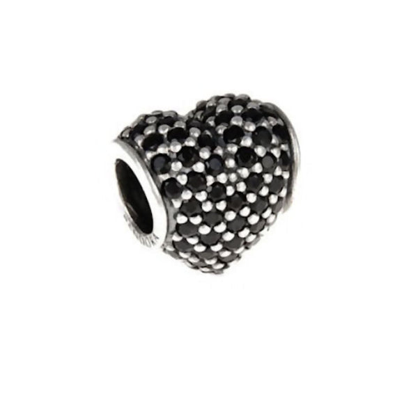 Authentic Pandora Jewelry - RETIRED Authentic Pandora Sterling Silver Pavé Heart Charm Bead - Black CZ - Alternative Measures