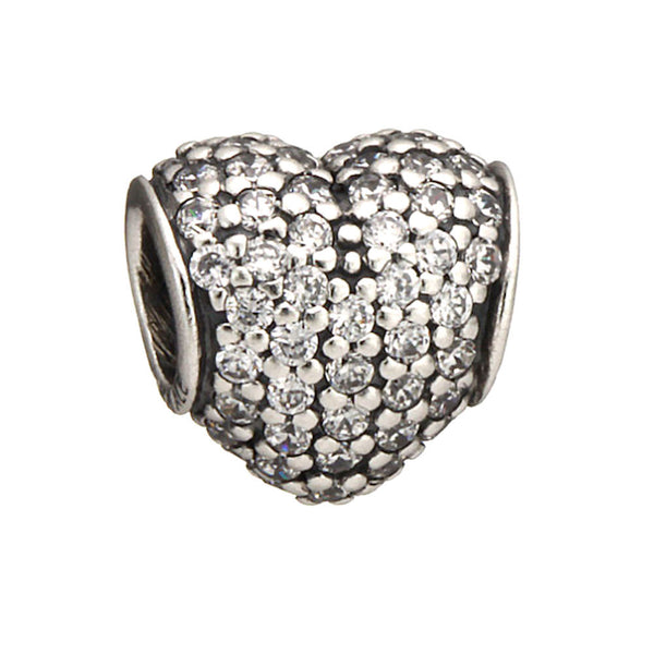 Authentic Pandora Jewelry - Authentic Pandora Sterling Silver Pavé Heart Charm Bead - Clear CZ - Alternative Measures