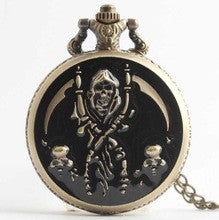 (DH122) black enamel skeleton's pirate design Watch Necklace Hunter Case Pocket Watch12pcs/lot  Dia 4.7cm. Free shipping - Alternative Measures