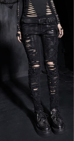 Gothic Women Pants Punk rave Black Novelty Hole Alternative Measures - Alternative Measures