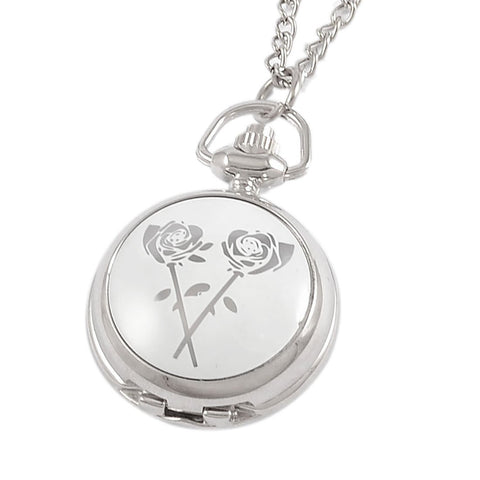 DOORCRASHER Silver Tone Rose Print Adjustable Time Metal Necklace Pendant Watch for Lady Alternative Measures - Alternative Measures