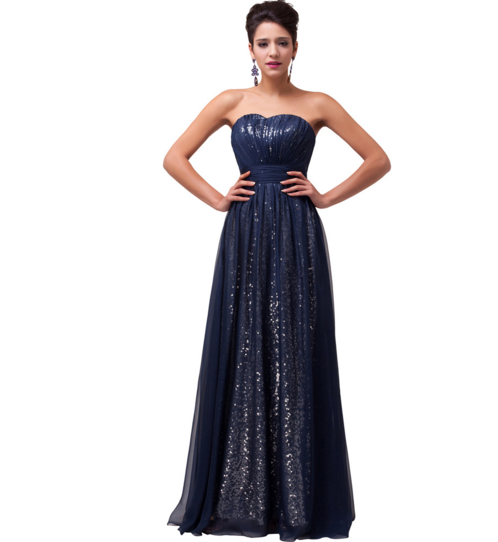 Shimmering Long Blue Women's Formal Dress - Bridesmaids - Prom - Party - Brides & Bridesmaids - Wedding, Bridal, Prom, Formal Gown - Alternative Measures -