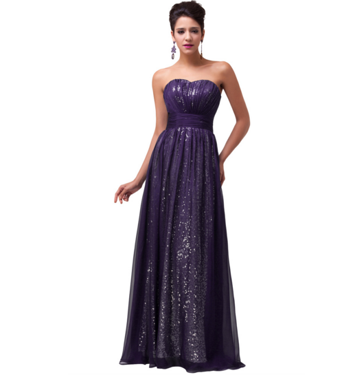 Shimmering Long Purple Women's Formal Dress - Bridesmaids - Prom - Party - Brides & Bridesmaids - Wedding, Bridal, Prom, Formal Gown - Alternative Measures -