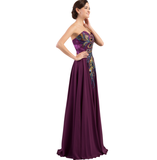Purple Peacock Long Women's Formal Dress - Bridesmaids - Prom - Party - Brides & Bridesmaids - Wedding, Bridal, Prom, Formal Gown - Alternative Measures -
