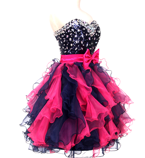 Short Red & Black Frills Women's Dress - Bridesmaids - Prom - Party - Brides & Bridesmaids - Wedding, Bridal, Prom, Formal Gown - Alternative Measures -