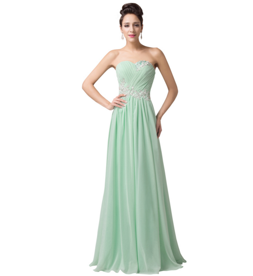 Mint Pastel Green Long Strapless Women's Formal Dress - Bridesmaids - Prom - Party - Brides & Bridesmaids - Wedding, Bridal, Prom, Formal Gown - Alternative Measures -