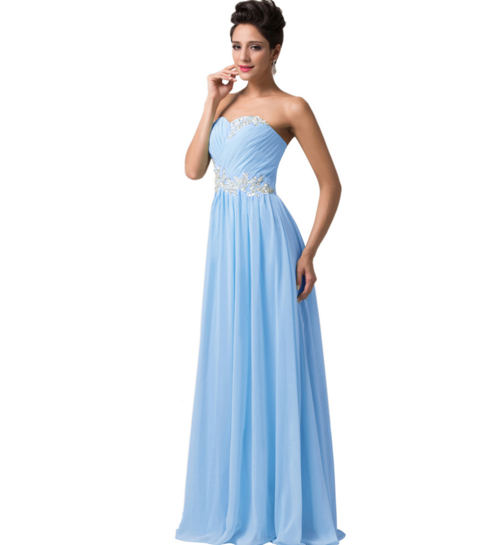 Light Pastel Blue Long Strapless Women's Formal Dress - Bridesmaids - Prom - Party - Brides & Bridesmaids - Wedding, Bridal, Prom, Formal Gown - Alternative Measures -