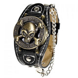 Leather Cuff & Chain Skull & Crossbones Collectible Punk Analog Watch - Alternative Measures -  - 1