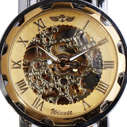 DOORCRASHER Leather Band Golden Skeleton Mechanical Hand Wind Sport Watch Classic Transparent Steampunk Mens Wristwatches Alternative Measures - Alternative Measures