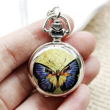 100pcs/lot Manufacturers Selling Fashion Small Enamel Yellow Purple Butterfly Pocket Watch Necklace Relogio Bulova - Alternative Measures