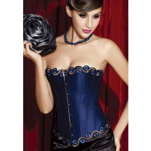 After the Rain Lingerie - Blue Satin Overbust Corset With Phoenix Scale Trim - OL1127 Sexy Gifts Valentine's Day Wife Honeymoon - Alternative Measures