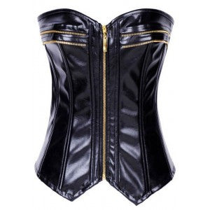 After the Rain Lingerie - Brass Zip Faux Leather Corset - OL1199 Sexy Gifts Valentine's Day Wife Honeymoon - Alternative Measures