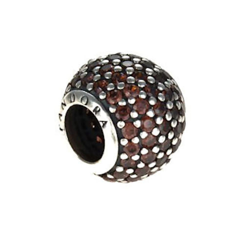 Authentic Pandora Jewelry - RETIRED Authentic Pandora Sterling Silver Pavé Lights Charm Bead - Brown CZ - Alternative Measures