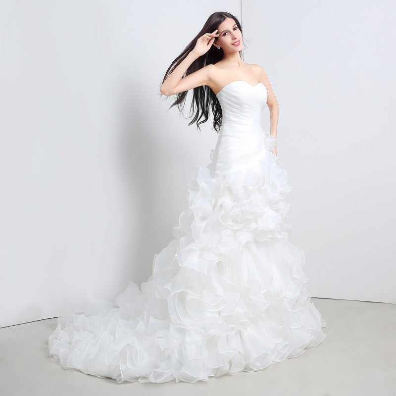 Ophelia Wedding Dress Sweetheart Ruched Cascading Ruffles Bridal Alternative Measures