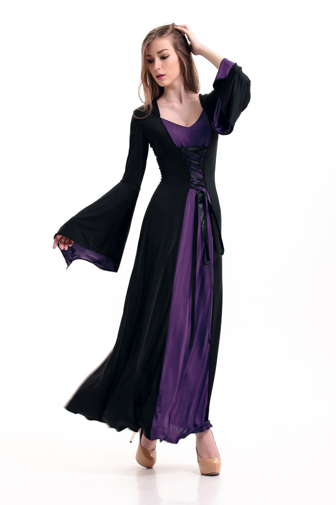 Purple Black Red Hooded Gown y Gothic Halloween Costume Medieval ...