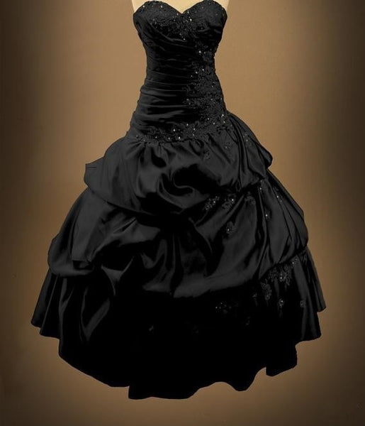 Gothic Black Wedding Dresses Plus Size Ball Gowns Puffy: Victorian Ball Gowns Backless Sweetheart Bridal Gothic
