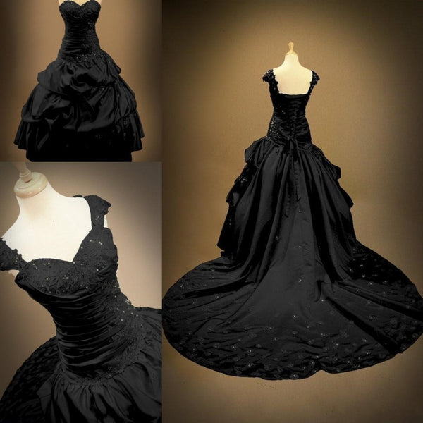 Victorian Ball Gowns Backless Sweetheart Bridal Gothic Black Wedding D Alte