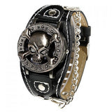 Leather Cuff & Chain Skull & Crossbones Collectible Punk Analog Watch - Alternative Measures -  - 2
