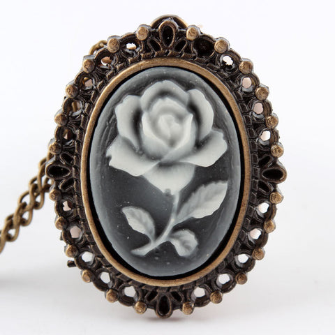 DOORCRASHER Rose Flower Bronze Retro Pocket Necklace Pendant Watch Women's Gifts P61 Alternative Measures - Alternative Measures
