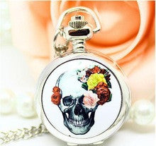 10 pcs/lot silver Enamel human skeleton quartz Pocket Watch necklace with chain Tong 80cm dial 2.5cm pendant - Alternative Measures