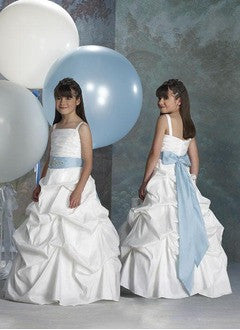 A-Line/Princess Floor-Length Taffeta Flower Girl Dress With Ruffle Sash - Alternative Measures