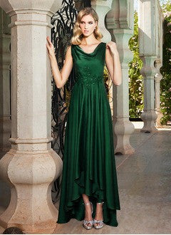 A-Line/Princess Cowl Neck Asymmetrical Charmeuse Evening Dress With Beading - Alternative Measures