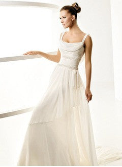 A-Line/Princess Cowl Neck Court Train Chiffon Wedding Dress With Ruffle Beading - Alternative Measures