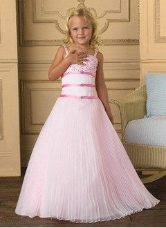 A-Line/Princess Floor-Length Organza Satin Flower Girl Dress With Ruffle Beading - Alternative Measures