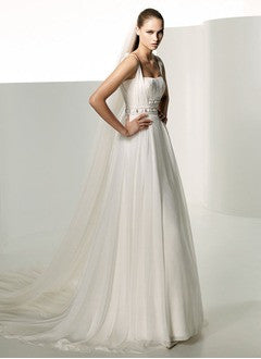A-Line/Princess Chapel Train Chiffon Wedding Dress With Ruffle Beading - Alternative Measures
