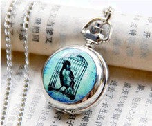 10 pcs/lot New silver birdcage enamel quartz pocket watches necklace Jewelry pendants gift wholesale - Alternative Measures