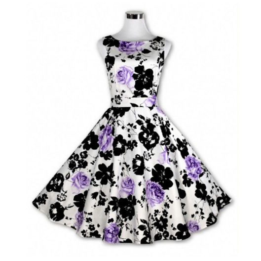 Floral Purple Made-to-Order Retro 50s Pinup Girl Rockabilly Style Dress by After The Rain - Brides & Bridesmaids - Wedding, Bridal, Prom, Formal Gown - Alternative Measures