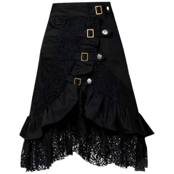 Goth Grunge Black Lace & Buckles Asymmetrical Skirt - Alternative Measures