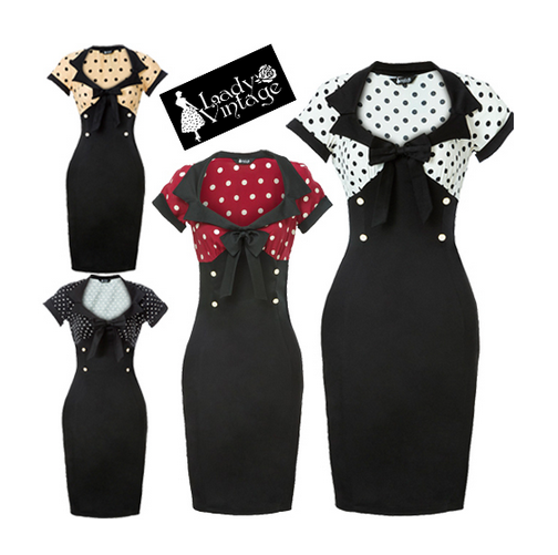 NEW ARRIVAL 4 Colors Polkadot Bodycon Made-to-Order Retro 50s Pinup Girl Rockabilly Style Dress - Brides & Bridesmaids - Wedding, Bridal, Prom, Formal Gown - Alternative Measures -