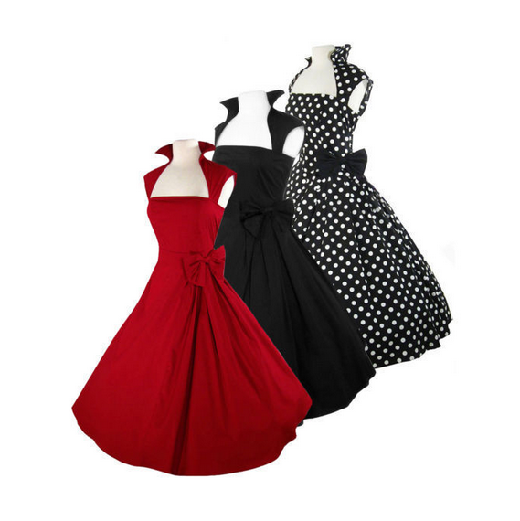 NEW ARRIVAL 3 Colors Side Bow Made-to-Order Retro 50s Pinup Girl Rockabilly Style Dress by After The Rain - Brides & Bridesmaids - Wedding, Bridal, Prom, Formal Gown - Alternative Measures -