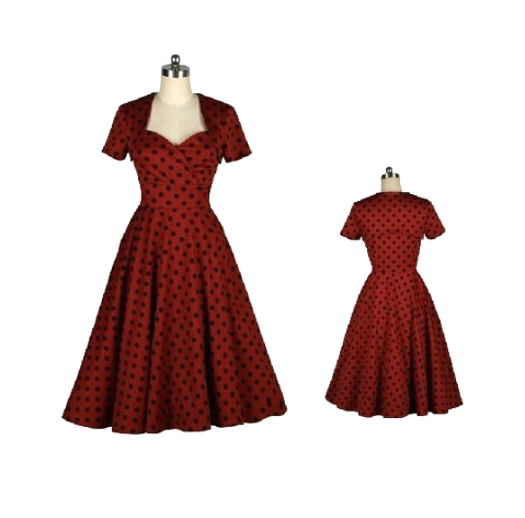 BEST SELLER Red Black Dots Made-to-Order Retro 50s Pinup Girl Rockabilly Style Dress by After The Rain - Brides & Bridesmaids - Wedding, Bridal, Prom, Formal Gown - Alternative Measures