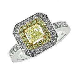 1 CT. T.W. Cushion-Cut Fancy Yellow and White Diamond Double Frame Ring in 14K White Gold - Alternative Measures