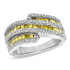 1 CT. T.W. Enhanced Yellow and White Diamond Ring in Sterling Silver - Size 7 - Alternative Measures