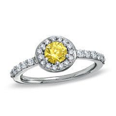 1 CT. T.W. Enhanced Fancy Yellow and White Diamond Pavé Framed Engagement Ring in 14K White Gold - Alternative Measures