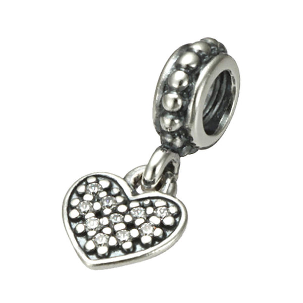 Authentic Pandora Jewelry - Authentic Pandora Sterling Silver Pavé Heart Dangle Charm Bead - Clear CZ - Alternative Measures
