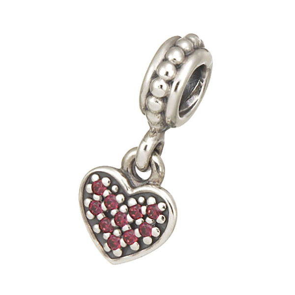 Authentic Pandora Jewelry - Authentic Pandora Sterling Silver Pavé Heart Dangle Charm Bead - Red CZ - Alternative Measures