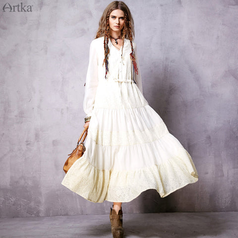 Artka Women's 2016 New Spring Casual Bohemian V-neck Long Sleeve White Holiday Lace Maxi Dress LA11560C - Alternative Measures