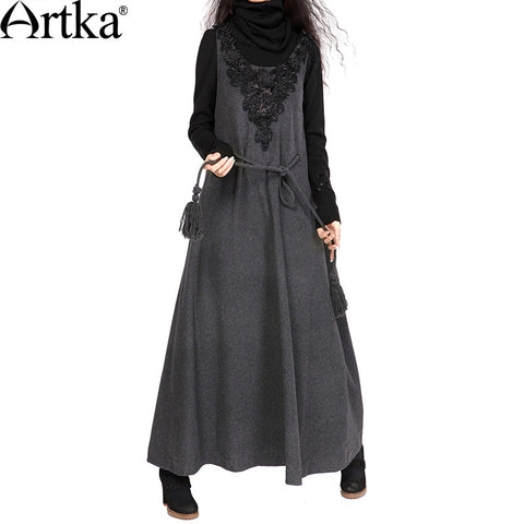 Artka Women's Autumn New Solid Color Appliques Ankle-Length Dress Vintage O-Neck Sleeveless Drawstring Woolen Dress LA10126Q - Alternative Measures