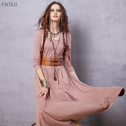 Artka Women's 2016 Spring New Bohemian Style Solid Color Comfy Dress O-neck Long Sleeve Mid-Calf All-match Dress ZA15850Q - Alternative Measures