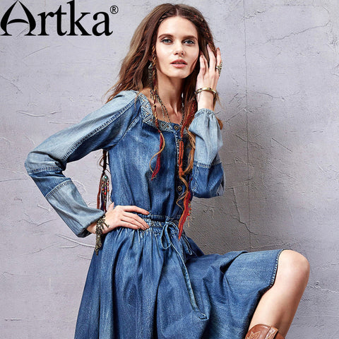 Artka Women's 2015 Autumn New Bohemia Style Square Collar Embroidery Decoration Dress Slim Cotton Denim One-piece Dress L810051C - Alternative Measures