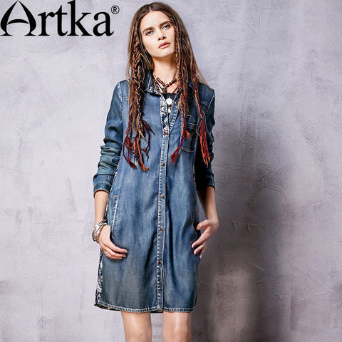 Artka Women's Autumn New Ethnic Printed Chiffon Denim Patchwork Dress Vintage Turn-down Collar Long Sleeve Comfy Dress L810062C - Alternative Measures